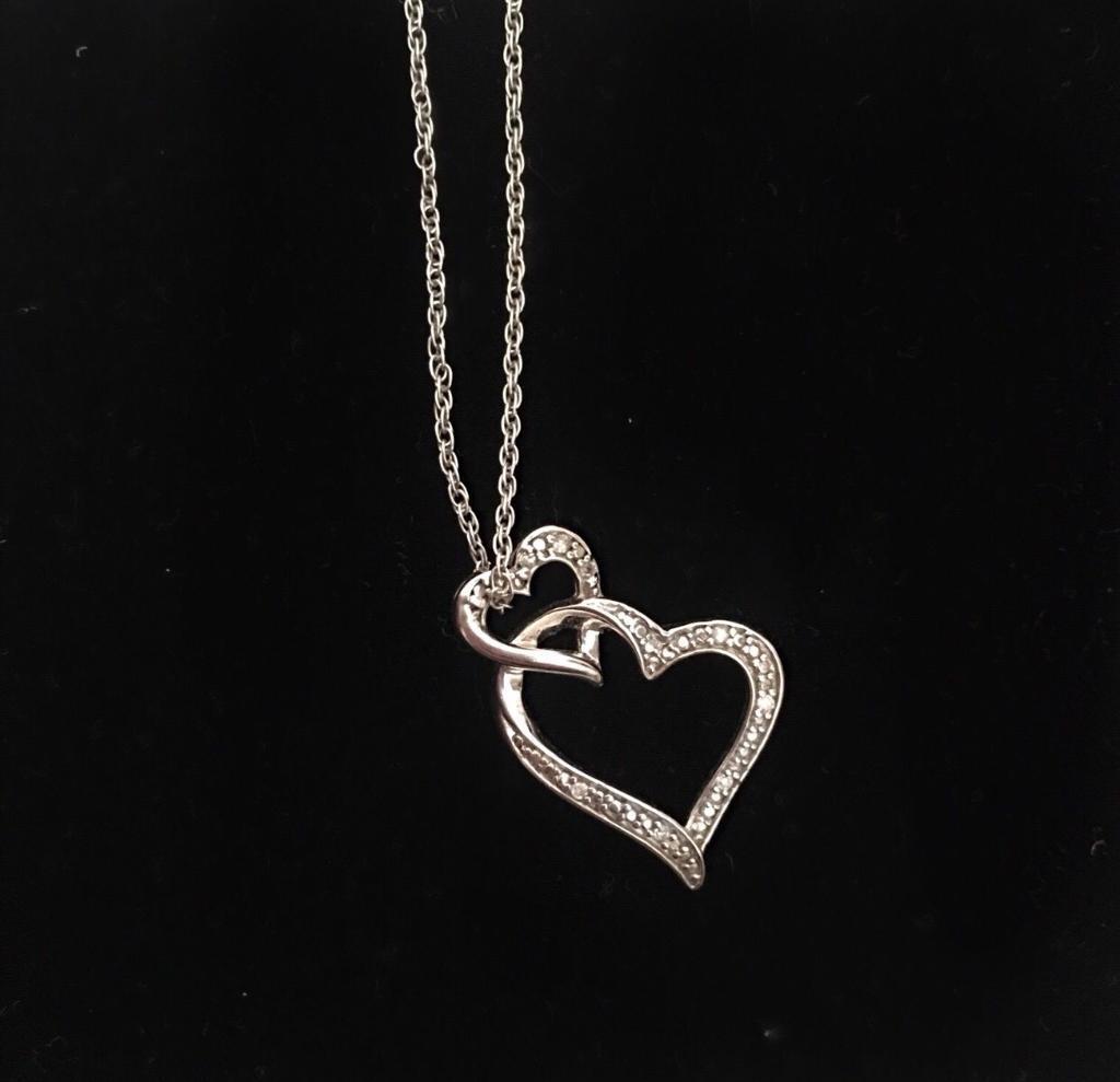 H.SAMUEL Silver & diamond Heart Necklace
