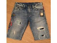 Brand new with tag. Men's authentic True Religion denim shorts. Waist 34. Ricky straight leg fit