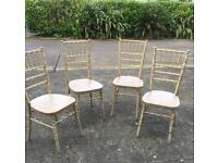 4 shabby style gold coloured dining chairs