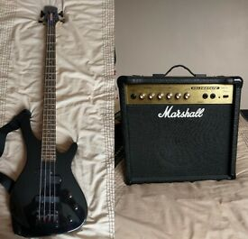 two Bass guitars & marshall valvestate amp relisted due to a tossa