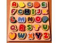 COLOURFUL WOODEN ALPHABET FIT IN PUZZLE 27 x 27CM