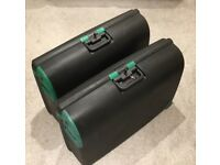 2 Carlton Large Wheeled Hard Shell Suitcases with keys strong and secure locking - clips not zips