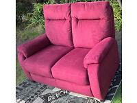 Ex-display 2 Seater Burgundy Fabric Material Sofa.