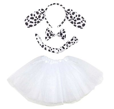 Kids DALMATIAN TUTU COSTUME Fancy Dress Halloween Ears Instant Animal Set New UK - Childrens Halloween Costumes Uk