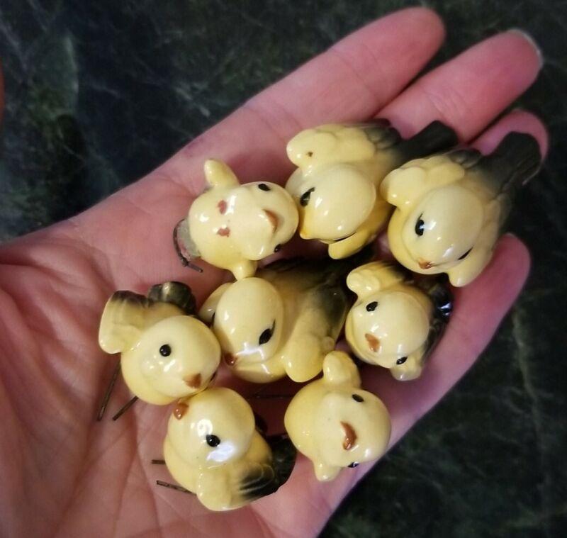 Vtg Miniature Ceramic Porcelain Japanese Birds w/Metal Feet for Craft, Adorable!