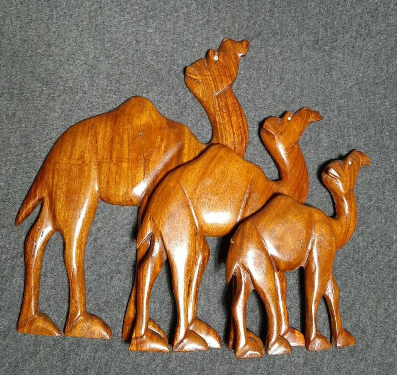 VTG Set Of 3 Carved Wooden Camels Wall Hanging Bohemian