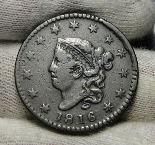 1816 Penny Coronet Large Cent - Nice Coin, Free Shipping  (7602)