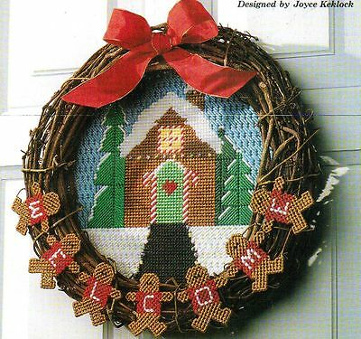 GINGERBREAD WREATH CHRISTMAS PLASTIC CANVAS PATTERN INSTRUCTIONS