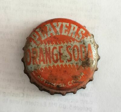 bottle cap crown Players Orange SODA can top acl flat cone tin baseball Red Rock