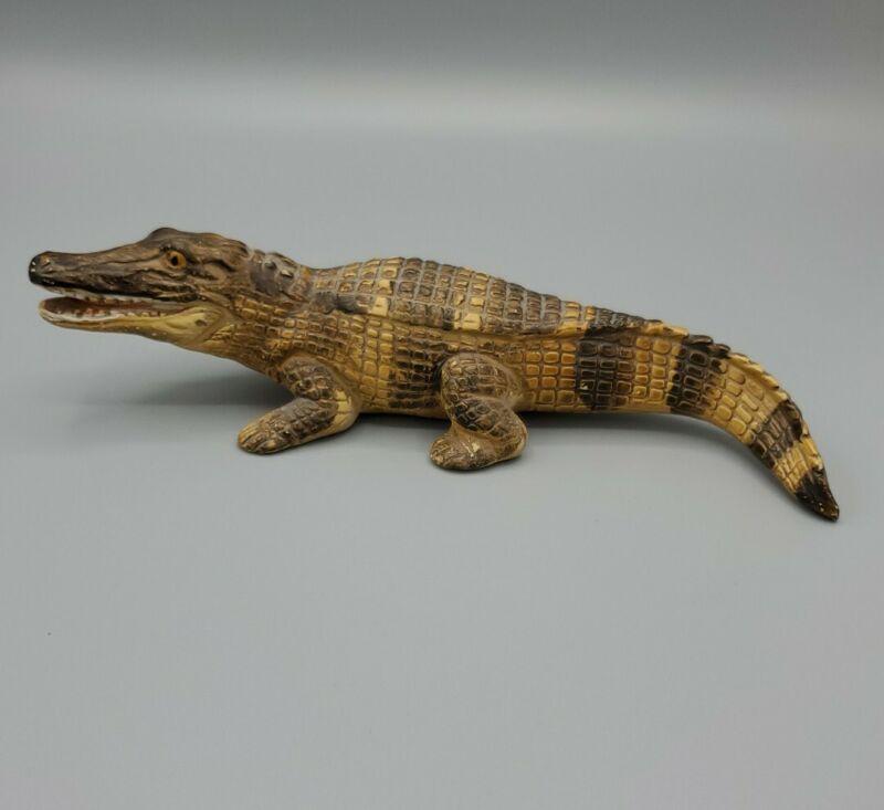 "Alligator Ceramic Figurine UCTCI Japan hand painted animal reptile vintage 8"""