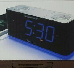 Emerson Radio Alarm Clock Bluetooth USB Blue Nightlight, SmartSet, Jumbo Display
