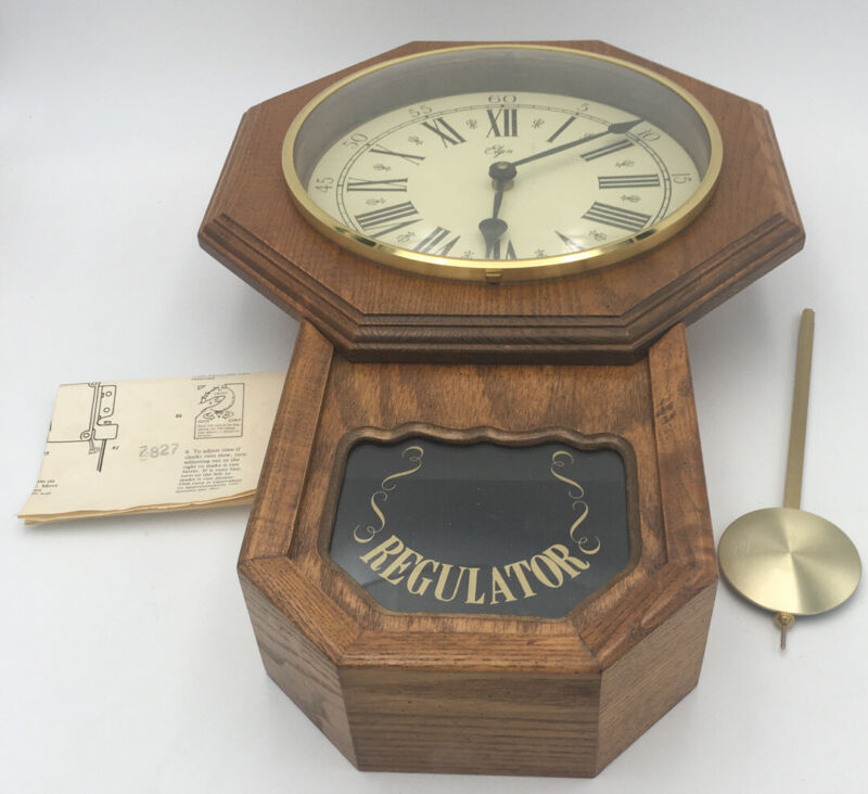 Vintage Elgin Regulator Wall Clock Electric