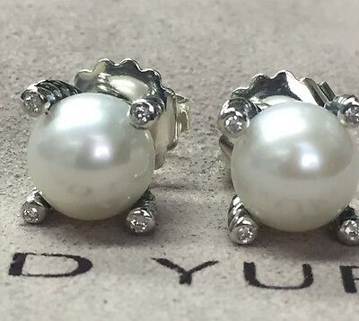 David Yurman Sterling Silver 14K Gold Post Cable Pearl Earrings Diamonds 9.5mm