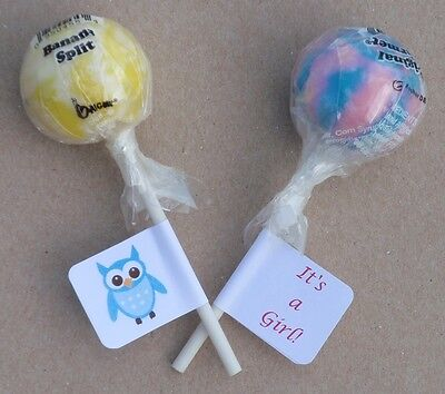 30 OWL THEME BABY SHOWER BOY/GIRL LOLLIPOP LABELS/STICKERS PARTY FAVORS  - Owl Boy Baby Shower