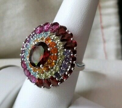 Chuck Clemency NYCII Sterling silver Exotic Rainbow cluster multi Gemstone Ring