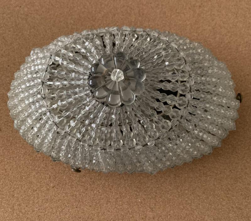 Vintage SHERLE WAGNER Crystal Bead Light Flush Mount Light Fixture