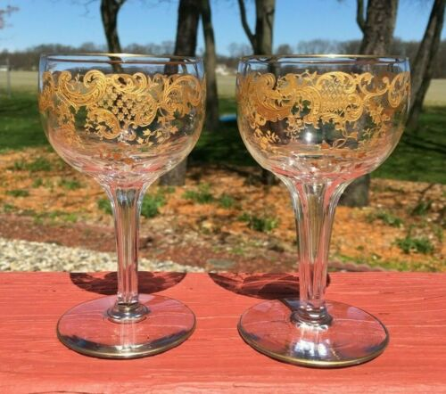 2 RARE St Louis Massenet Gold Encrusted Hollow Stem Wine Water Champagne Moser