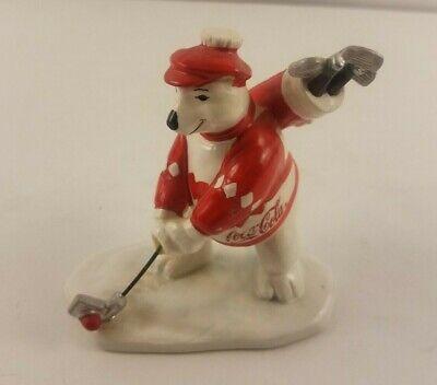 Vintage 1995 Coca Cola Polar Bear Playing Golf Figurine 176478