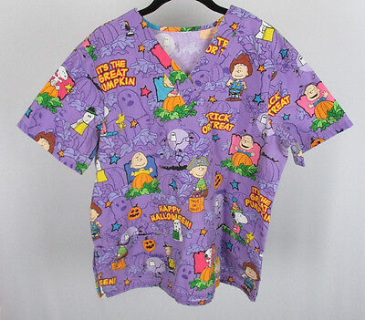 Charlie Brown Peanuts Halloween Scrub Top Purple Snoopy Woodstock Lucy Costumes](Lucy Snoopy Costume)