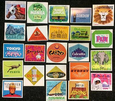 QANTAS Airline - Huge Lot of 23 DIFFERENT Destination Luggage Labels *MINT* 1960