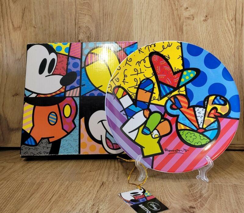 Disney Romero Britto Plate Peace Love And Mickey Boxed