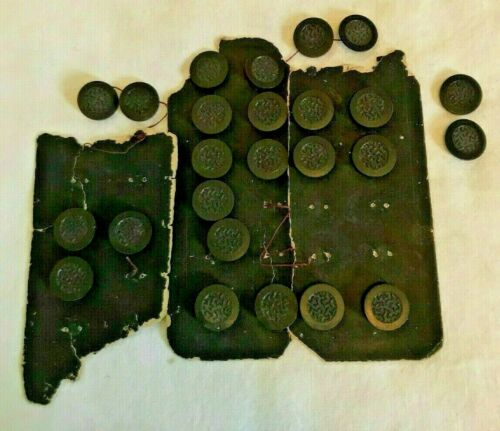25 ANTIQUE GOODYEAR BLACK ROUND RUBBER BUTTONS-MOLDED ABSTRACT DESIGN-SELF SHANK