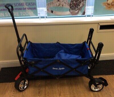 BEAU JARDIN Folding Wagon Trolley Camping Cart with Brake 176lb Capacity Trailer