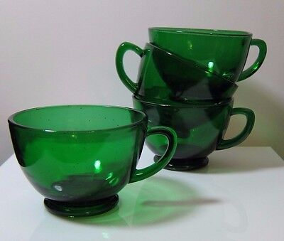 Set of 4 Vintage Anchor Hocking Emerald Forest Green Glass Tea or Punch Cups