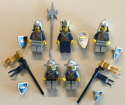 Lego Minifigure Castle Knights Lot P ~  Navy / Gold Crown Knights & Weapons