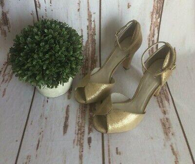 Anthropologie Chelsea Crew Women's Lola Peep Toe Gold Pumps Heels SizeEUR38(US7)