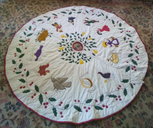 Large Vintage Christmas Tree Skirt Appliqué Embroidery Twelve Days of Christmas