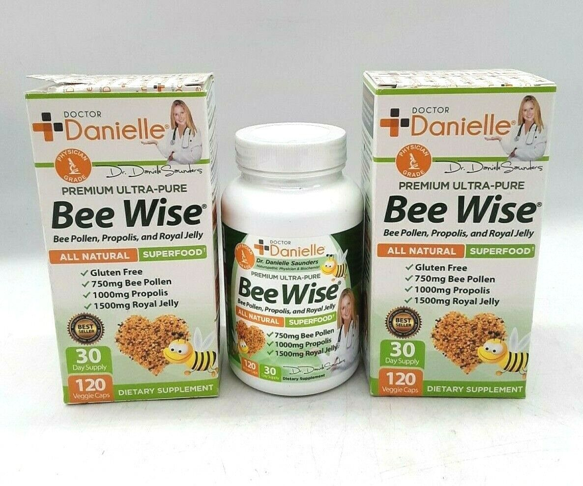 (LOT OF 2) Dr. Danielle's Bee Wise - Bee Pollen Supplement, 120 Veggie Capsules
