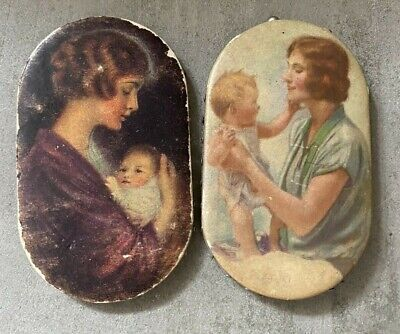 Vintage Advertising Pin Holders Sewing Victorian Mothers Photos Set of 2 (12)