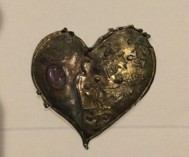 Signed Artisan CATHLEEN MCLAIN Brutalist Sterling Heart Agate Pin Brooch