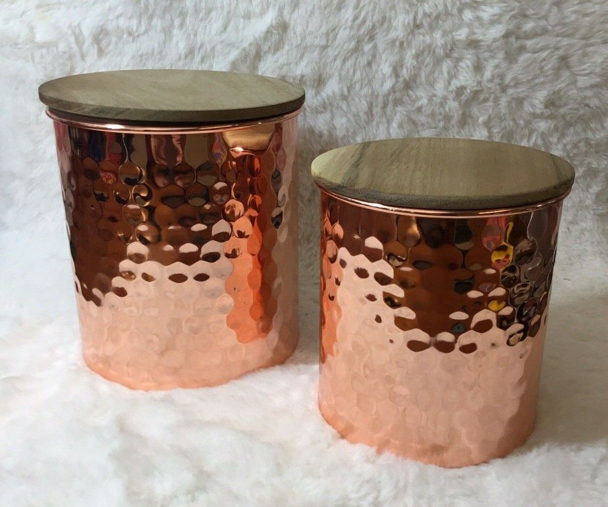 Uncommon James 2 Piece Hammered Copper Canister Set Kitchen
