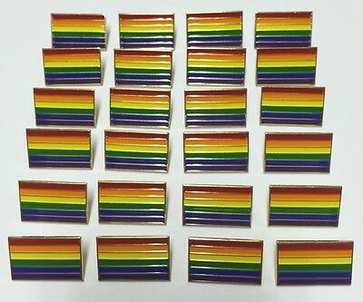 New Lot Of 24 Gay Pride Rainbow Flag Enamel 1  Lapel Pins Badge Gilbert Baker