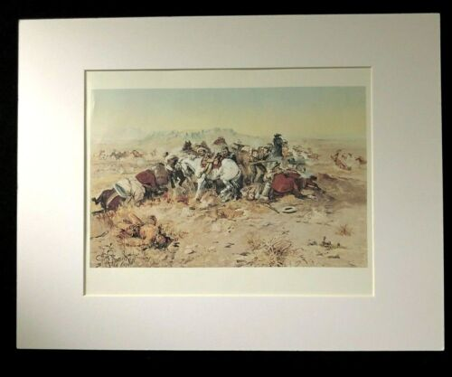 """Charles M Russell """"A Desperate Stand"""" 11 x 14 Matted Western Print"""