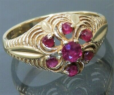 VINTAGE 9CT GOLD RUBY RING SIZE O   9 Carat YELLOW GOLD FLOWER CLUSTER
