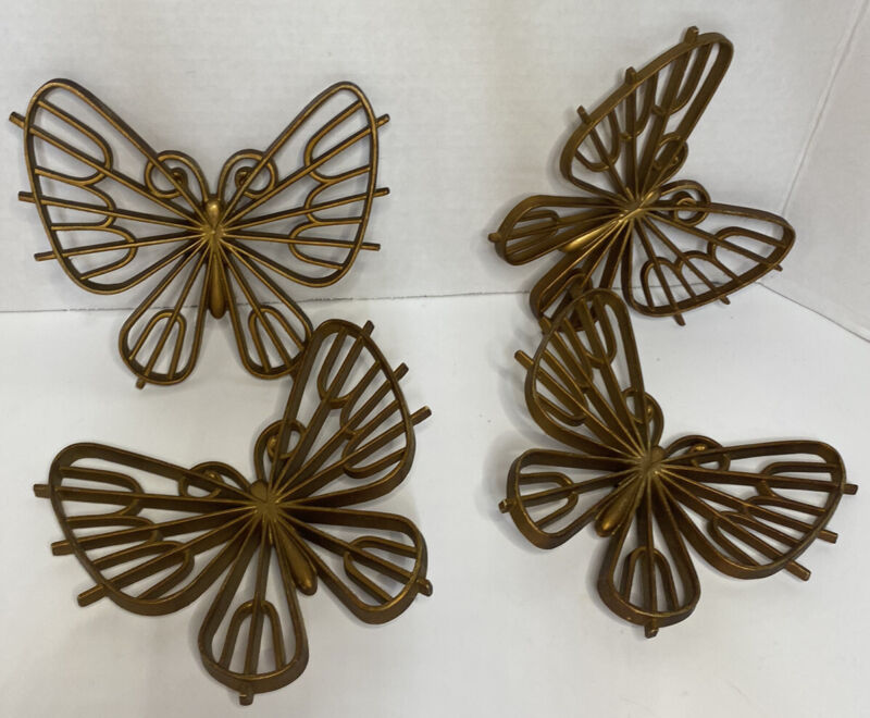 Vintage Home Interiors Butterflies Set Of 4