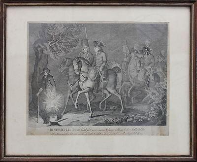 Friedrich der Große + Ziethen nach der Schlacht bei Leuthen  Radierung, um 1790