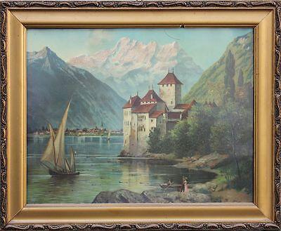 Genfer See, Schloß Chillon, Segelschiff - Chromolithographie, um 1900