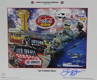 """Autographed by Sam Bass Charlotte Speedway Coca Cola 600 """"Let Freedom Race"""""""