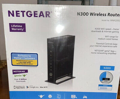 NEW Netgear N300 Wireless Router WNR2000v4 Genie App 5 Ethernet Ports Broadband Netgear N Broadband Router