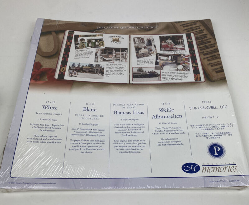 NEW Creative Memories White 12x12 Refill 15 Sheet/30 Pages Scrapbook Old Style