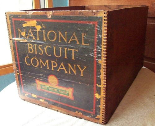 "Antique NATIONAL BISCUIT CO. Boxwood Crate Finger Joint ""Shell Oysters, Salted"""