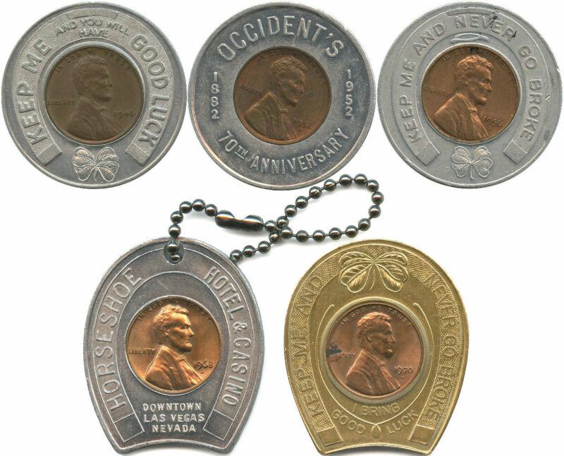 5 Different Never Go Broke Good Luck Tokens Encased 1940-1970