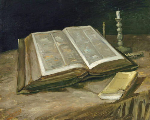 Open Bible On Table With Candle Van Gogh Painting 8x10 Real Canvas Art Print
