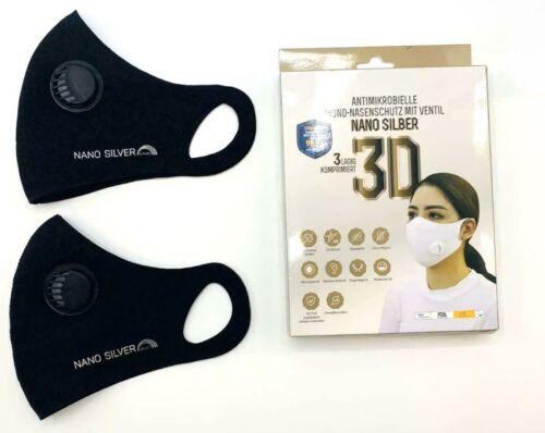 2x Waschbare Atemschutzmaske mit Ventil Maske Nano Silver 3D FFP 2-3 Schwarz