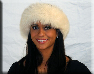 White Fox Fur Headband One Size Fits All-efurs4less