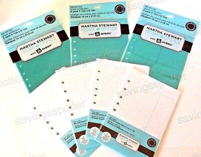 Martha Stewart Mini Binder Kit 200 Filler Paper Secure Sheet Protectors 1 2 4